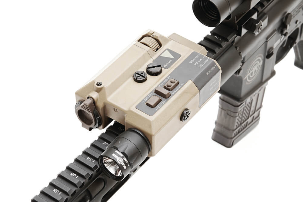 The Wilcox Raptar Lite ES, rifle gear that includes an IR illumination, visible red laser, and IR laser in one unit.