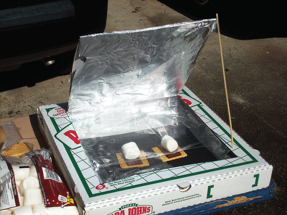 You can make a box cooker from something as simple as a pizza delivery box. A great size for making s'mores or cooking eggs.