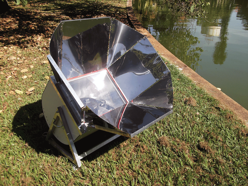 Many commercial models allow you to rotate the cooker on its axis to point it directly at the sun. This feature can be incorporated into the home-made solar cooker very easily for most of us.