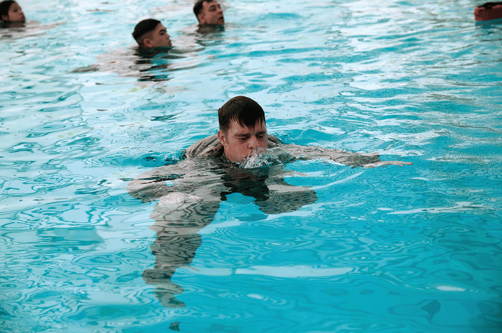At the top of the drown proofing cycle, blow out the air in your lungs as you rise up and then take in a full breath before you allow your body to sink back down.