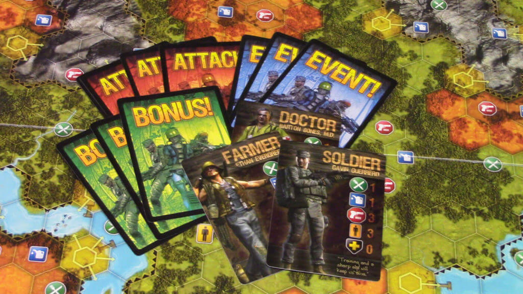 Caption: Doom and Bloom SURVIVAL! is a board game centering on surviving in a world ravaged by a global pandemic.