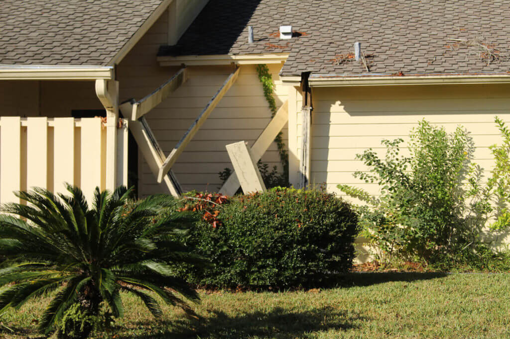 The beams on this house were snapped like twigs during one of Matthew's powerful wind gusts.