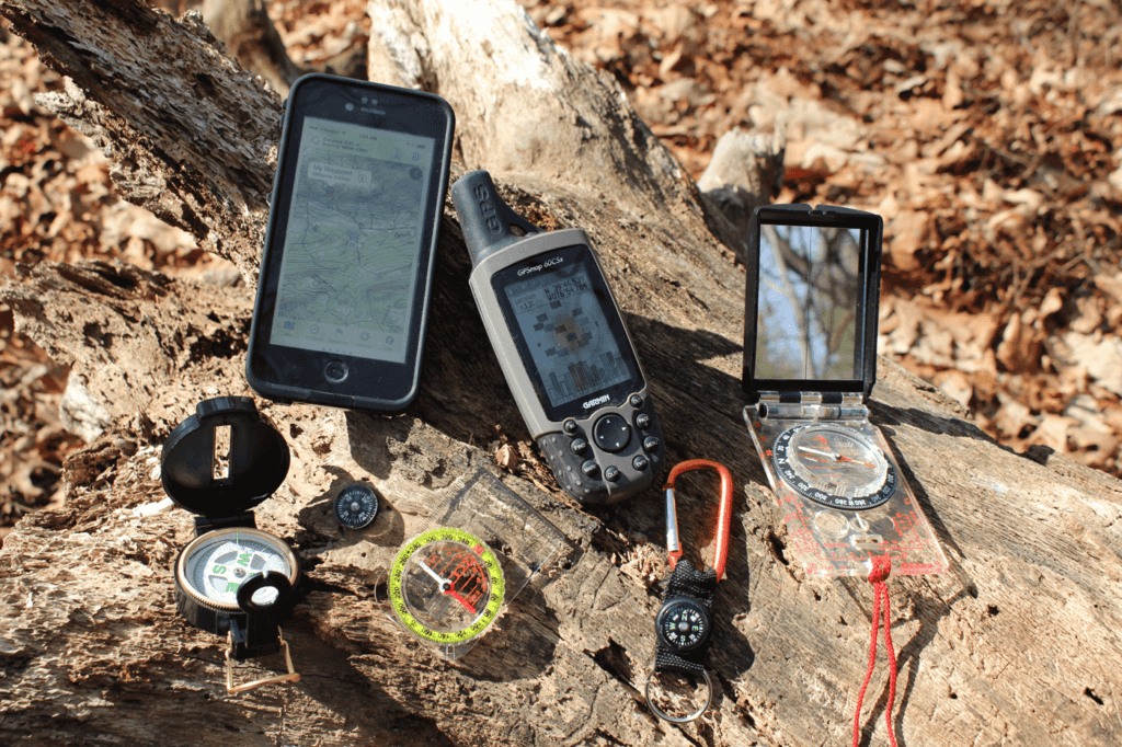 Handheld GPS units and smartphone apps have become a go-to item for many. Always carry a good quality compass with you in case of power failure or failure to receive a good signal in heavy forested areas or overcast skies. Shown here are only a few options available.