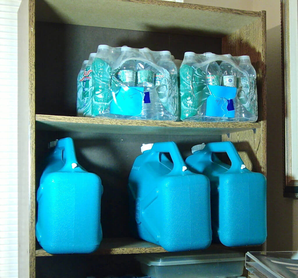 Commercially bottled water or water stored in jerry cans requires substantial storage space.