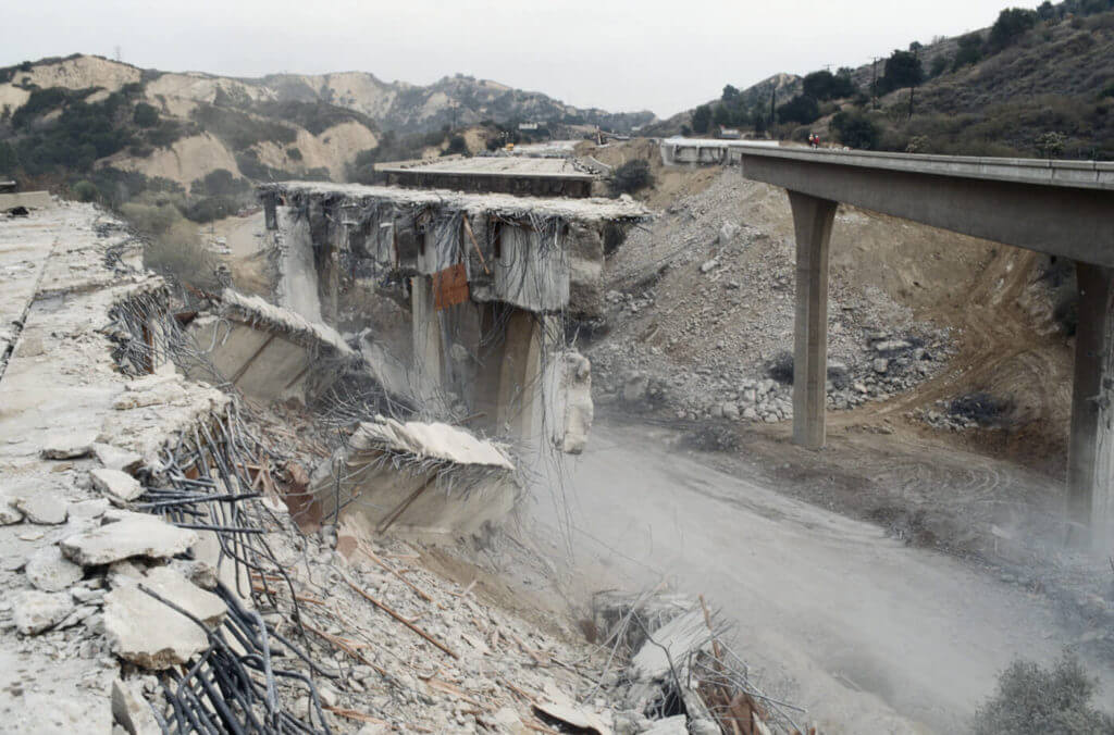 An old bridge that was destroyed by an earthquake