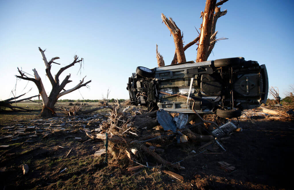 A tornado can literally turn your world upside down. The twister that tore through El Reno, Oklahoma, in 2011 left eight people dead and another 60 injured.