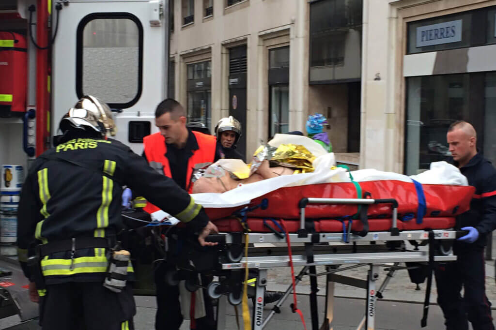 Active shooters are often interested in taking as many lives as possible. Here a victim of the Charlie Hebdo newspaper attack in France in 2015 is removed to a hospital.