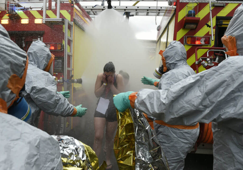 Emergency workers responding to hazardous spills will set up portable decontamination units to assist those affected.