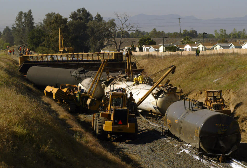 Area residents had to be evacuated in 2005 when a Union Pacific train derailed near San Bernardino, California, spilling flammable chemicals.