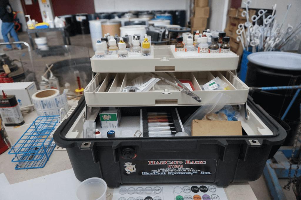 The team's chemistry kit.