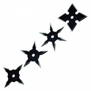 4 throwing stars, weapons that can be thrown in order to defend against an attacker