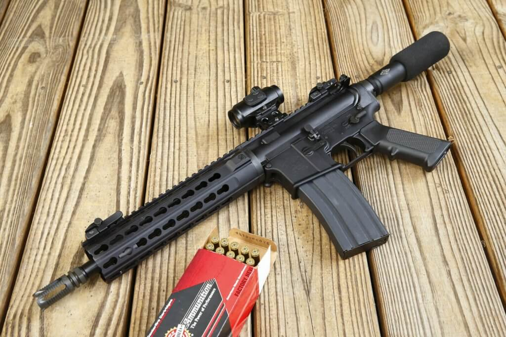 The YHM 5.56MM Pistol, dressed with the Lucid M7 Micro Dot, is a svelte package more easily concealed than a standard AR rifle. Nevertheless, it still provides the benefit of the rifle caliber and the higher-capacity magazines to which AR users are accustomed.