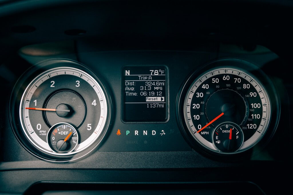 A gauge display inside a diesel fueled vehicle
