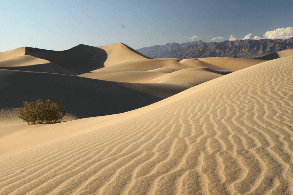 A desert, which is a landscape where it is important to where protective clothing against the sun