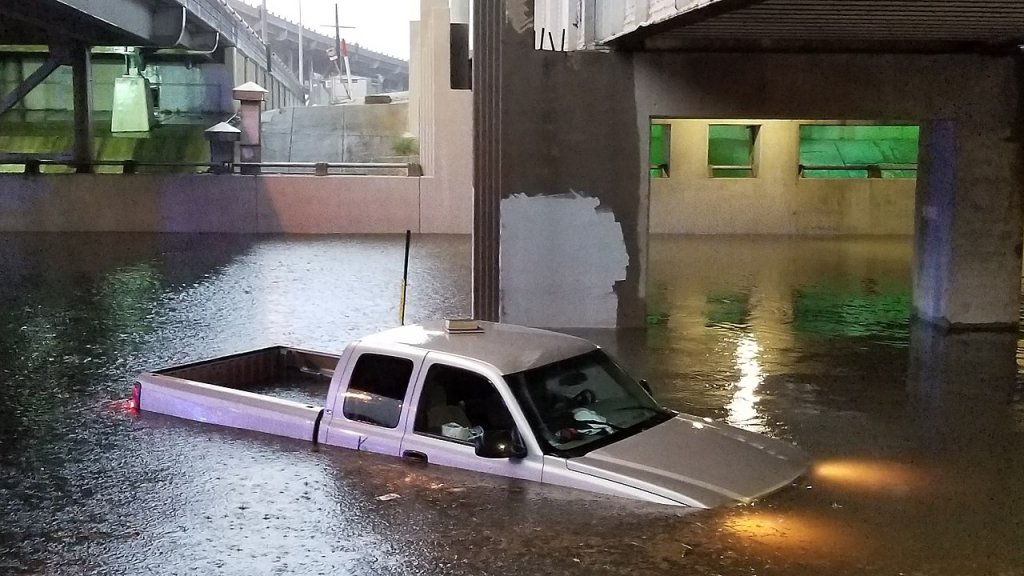 submerged truck from new orleans flood