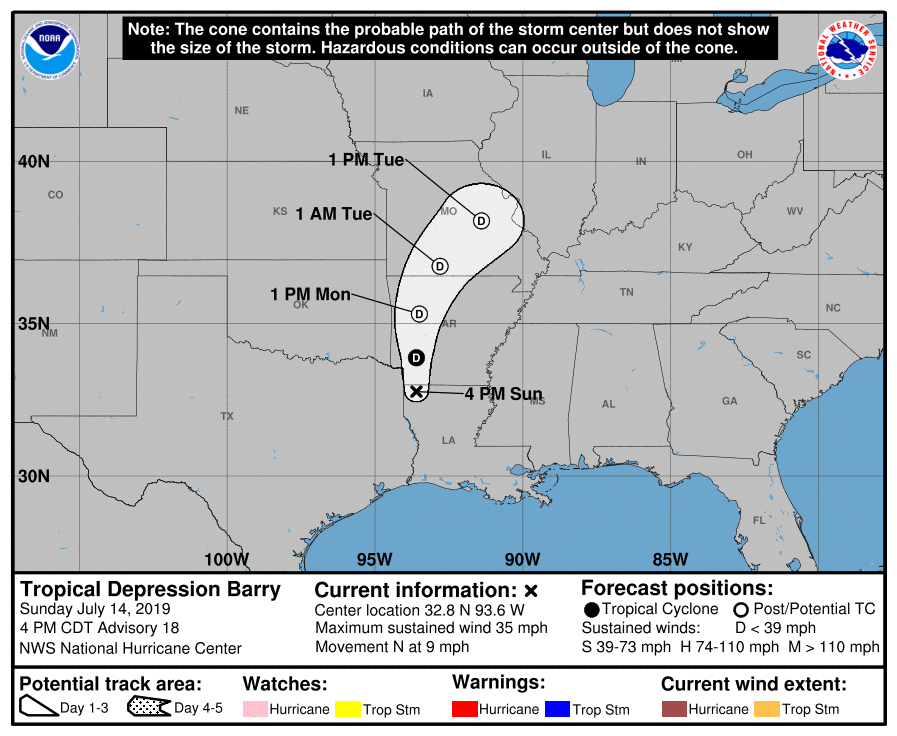 5-day track and intensity forecast for Tropical Storm Barry as of July 14, 2019