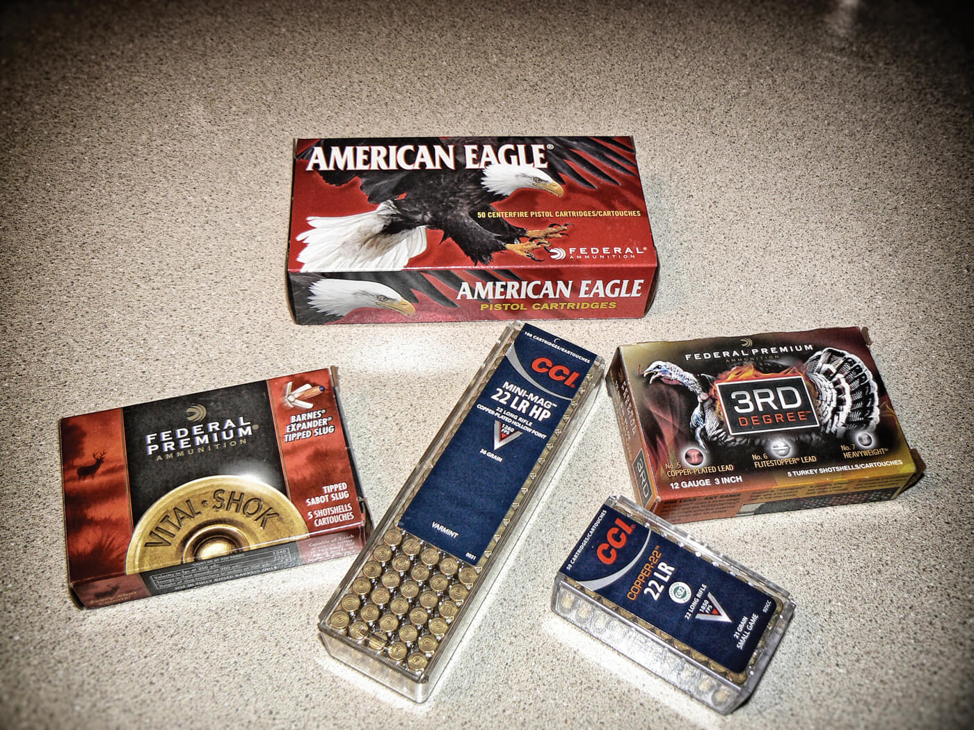 Shot of various types of ammo