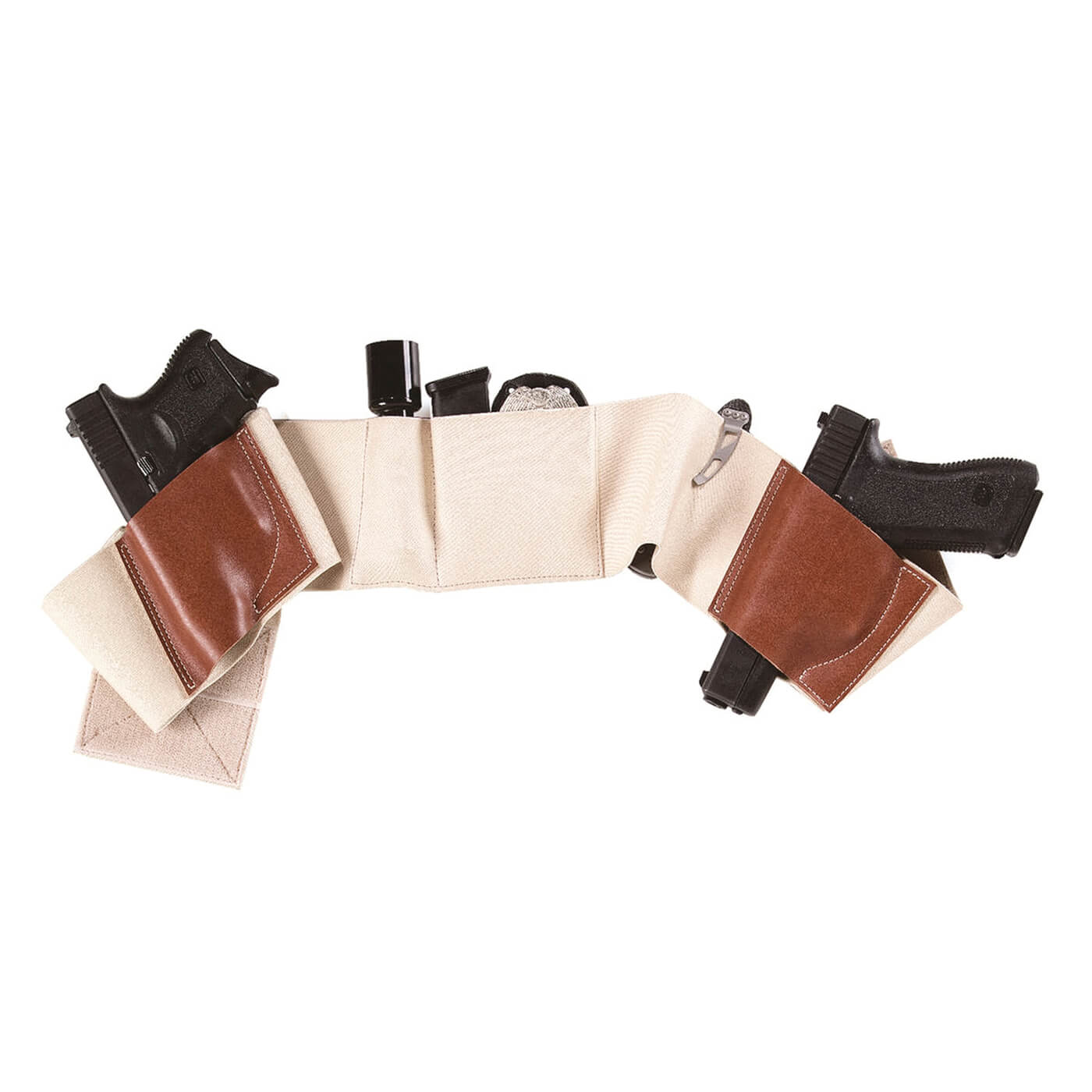 Galco Belly Band holster with Glock 19, Glock 23, badge, tac light, magazine and folding knife mounted