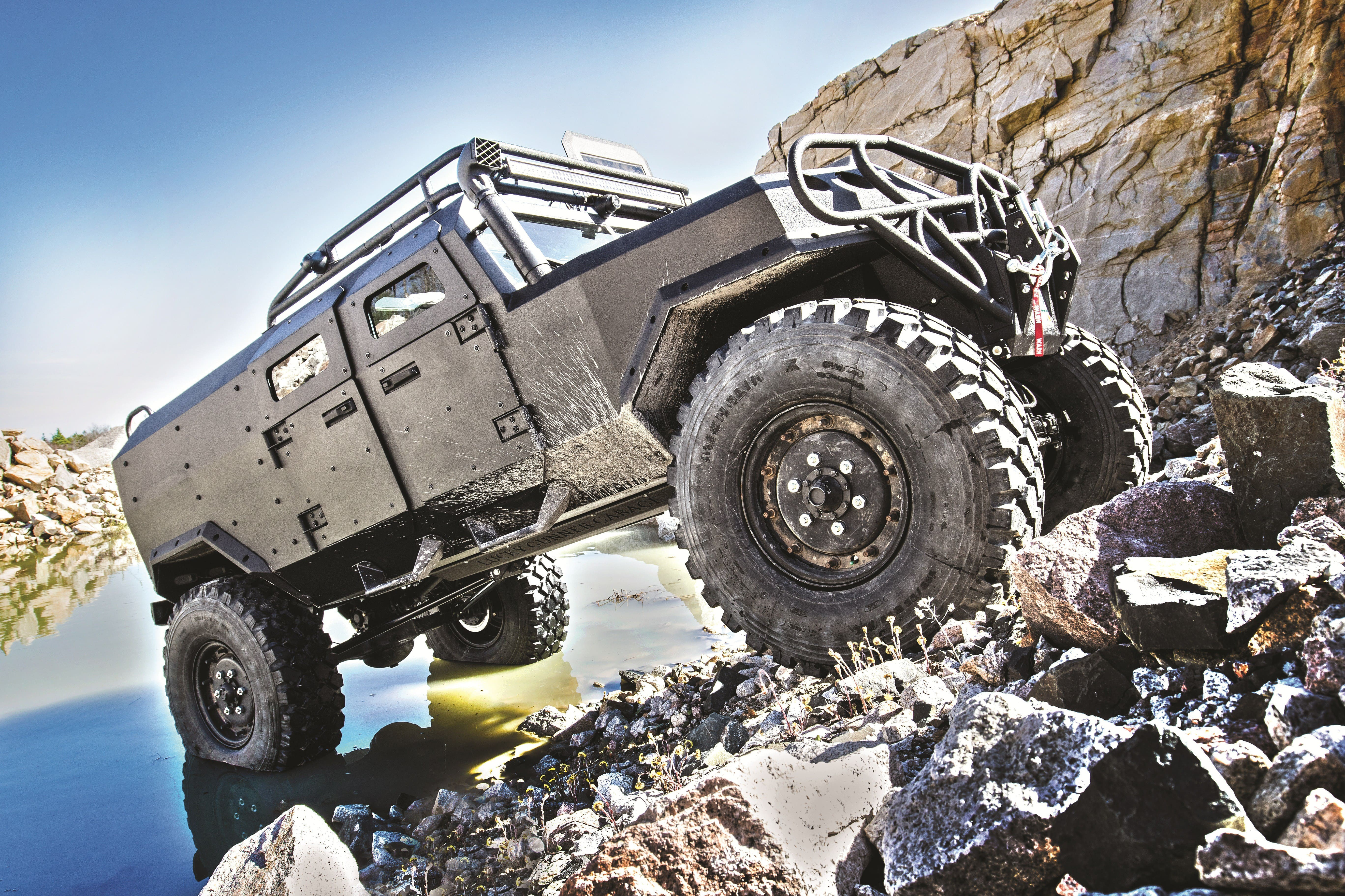 The Personal Survival Vehicle from Lucky Gunner Garage is purpose-designed to take you and your family halfway across the country in comfort and safety without resupply.