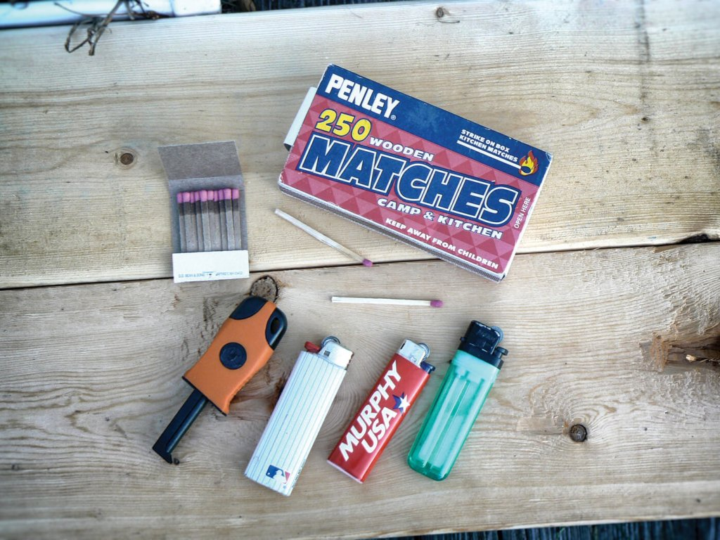 Gearing up properly means carrying fire-making tools like lighters, matches and tinder.