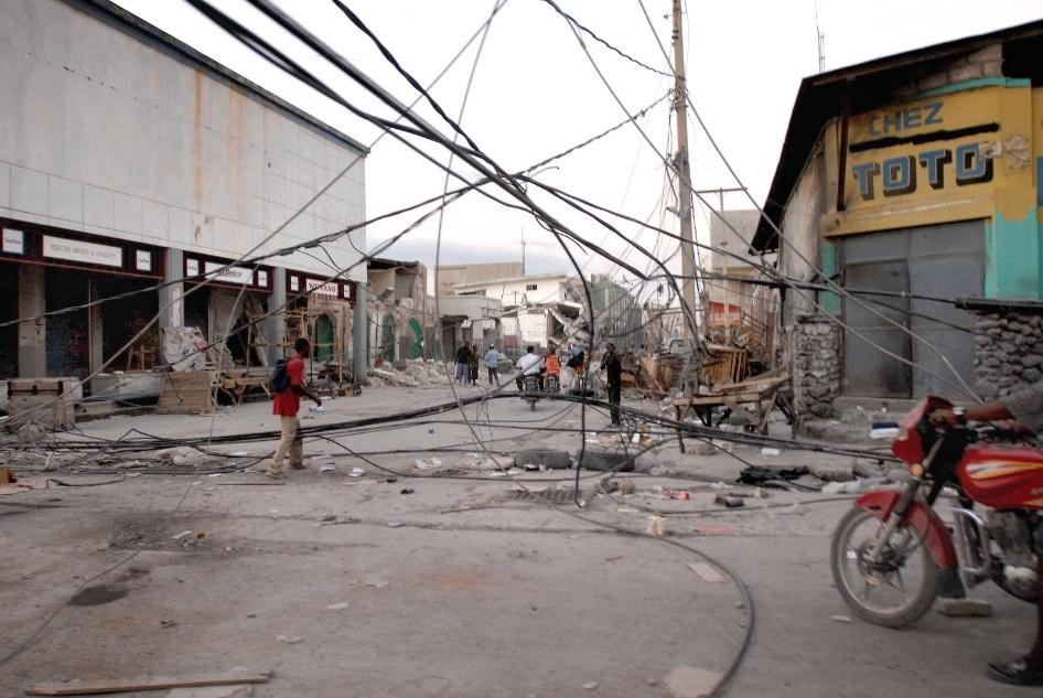 Earthquake aftermath showing downed power lines