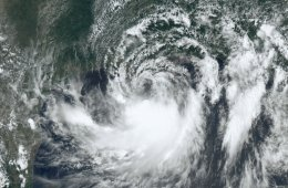 Satellite image of Tropical Storm Barry, July 12, 2019.