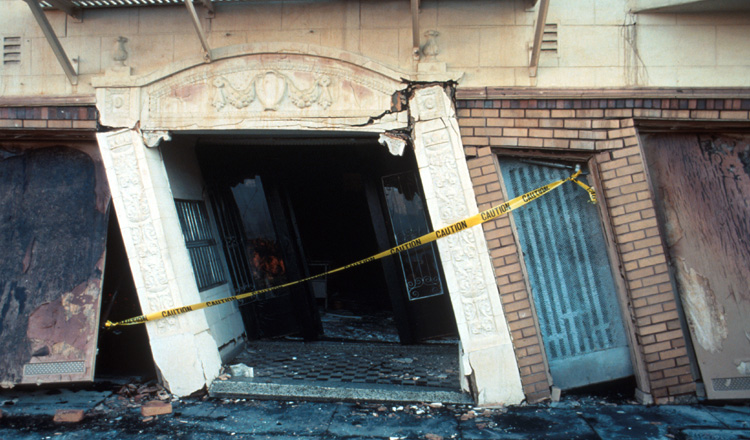 Lopsided doorway after an earthquake hit San Francisco in the 1980s