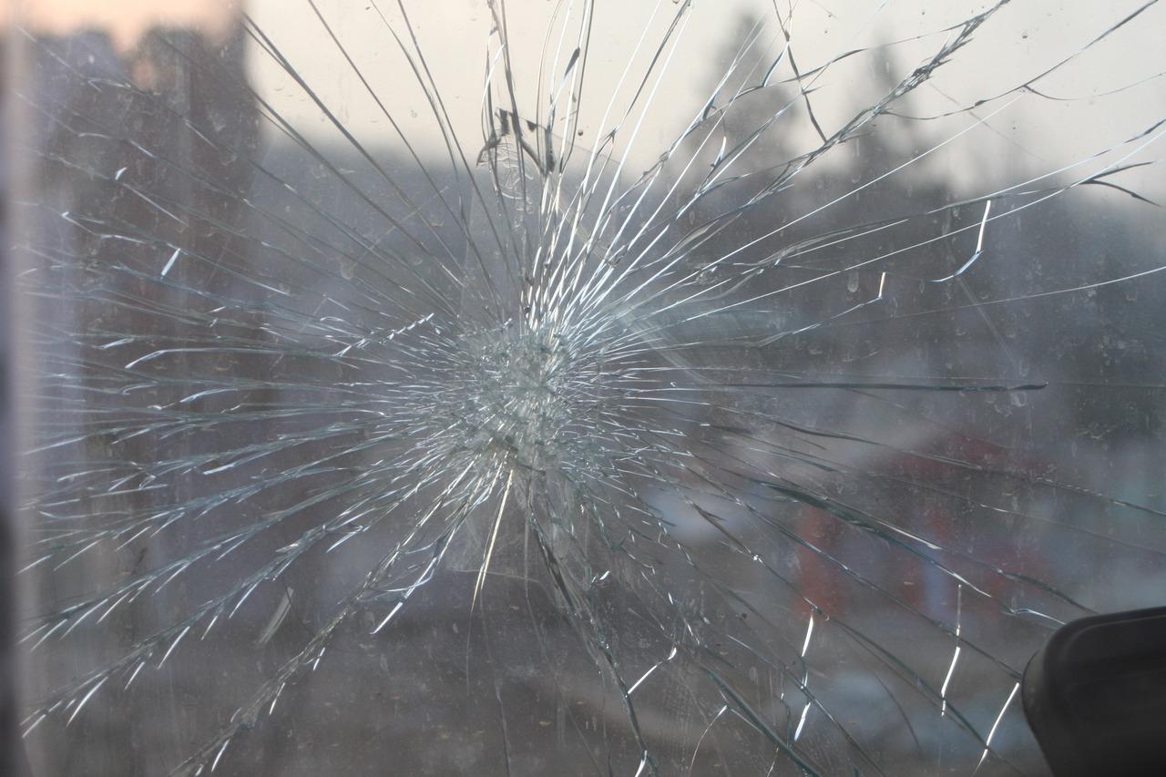 Shatter-resistant window still intact despite having a large crack