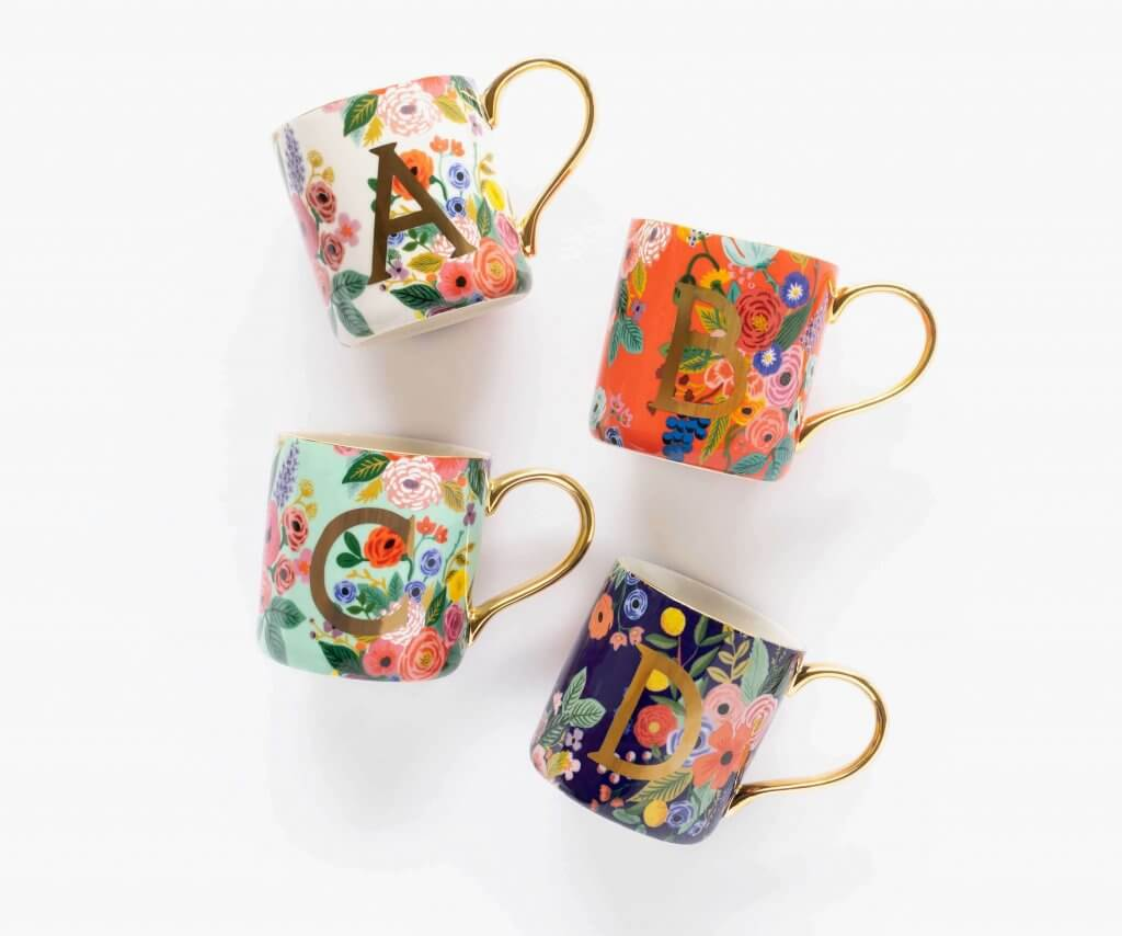 Monogrammed floral mugs from Rifle Paper Company
