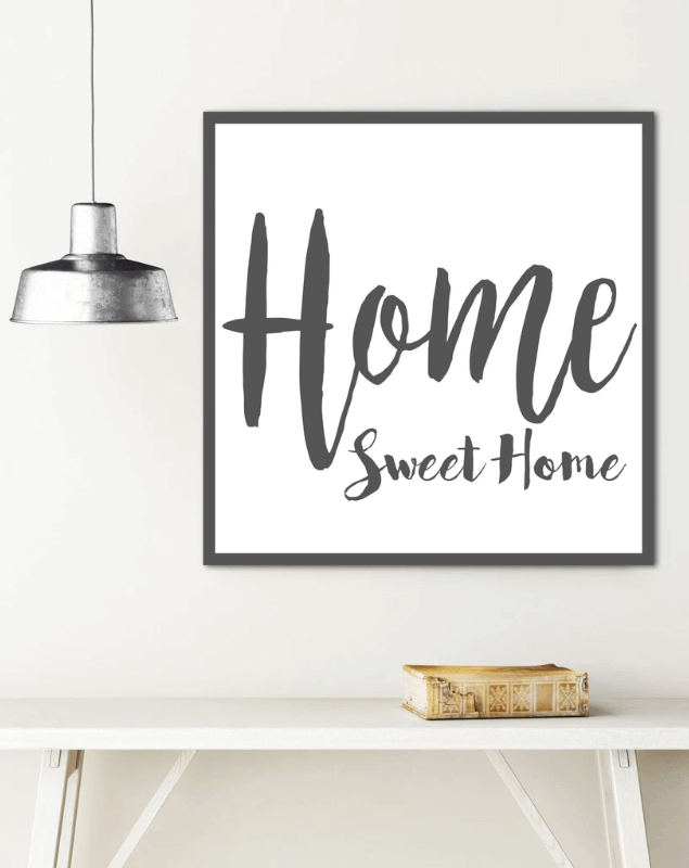 Sign art that says Home Sweet Home