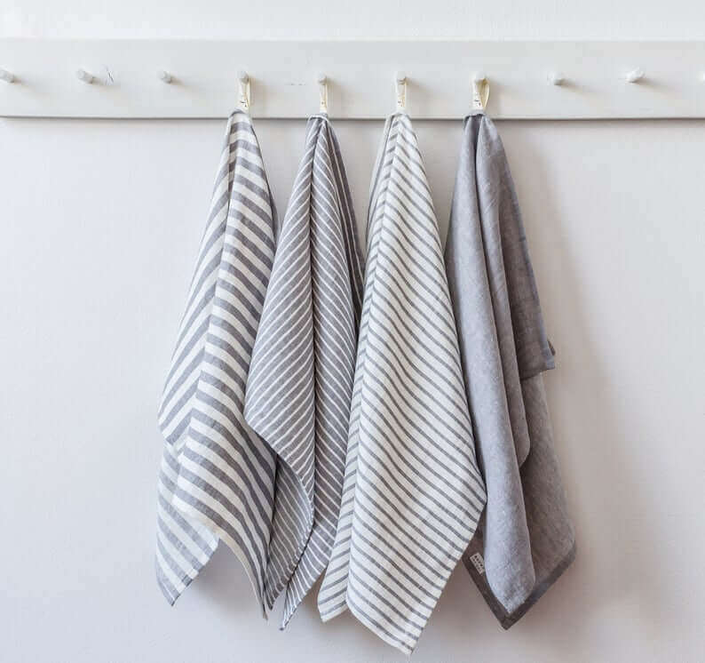 Set of hanging tea towels in stripes for Christmas gifts
