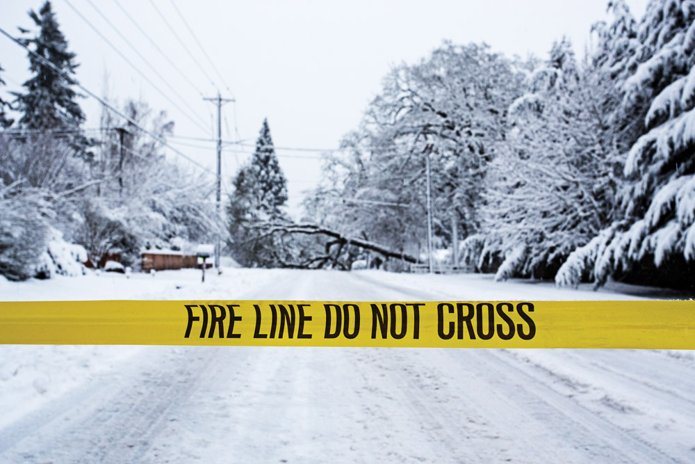 Excessive snow and ice loads on trees can cause power and communications outages without the advance warning that severe storms and high winds can provide.