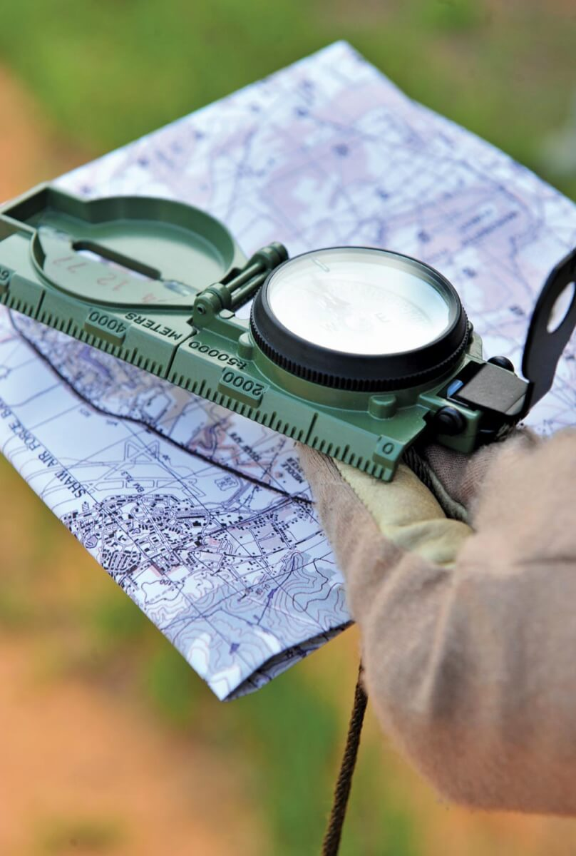 a map and compass,