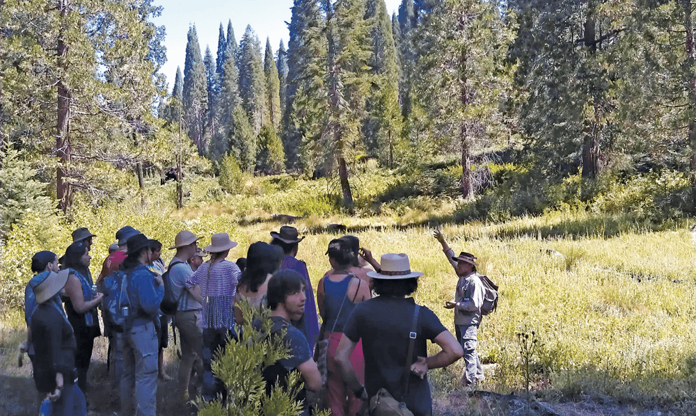 Christopher Nyerges, noted self-reliance instructor and author, leads a class in the Southern California hills