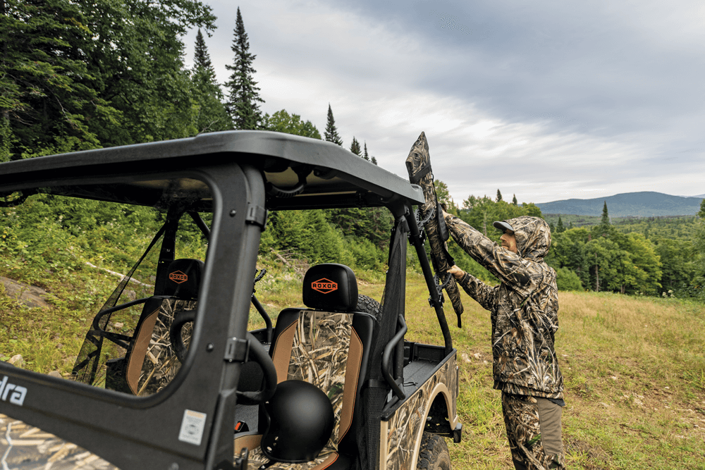 As a hunting vehicle, the ROXOR would excel, because it offers plenty of room to haul gear and game.