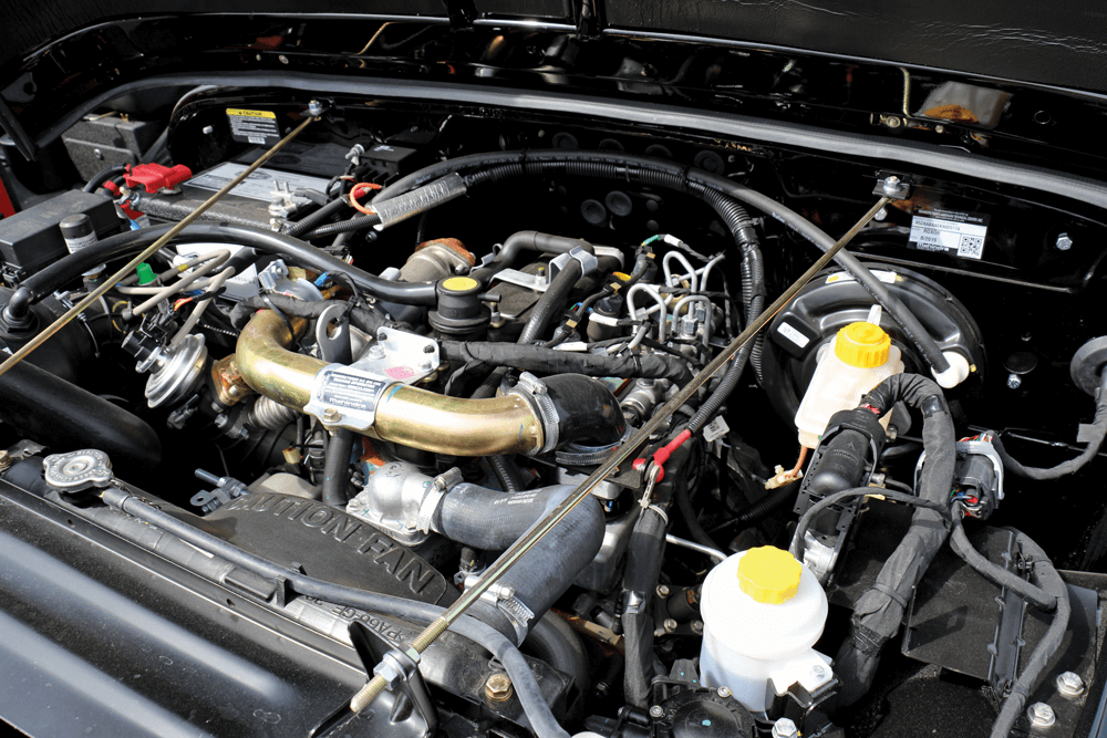 The engine compartment of ROXOR reveals a high-tech diesel powerhouse.