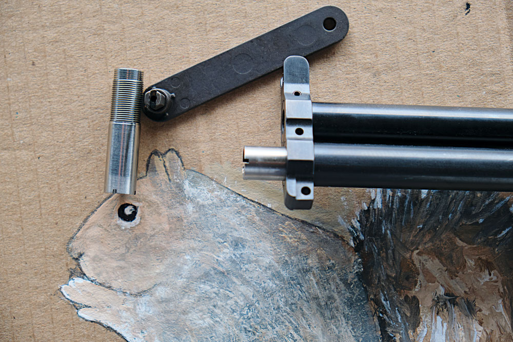 The same tool that's used for the choke tubes can make front sight adjustments.