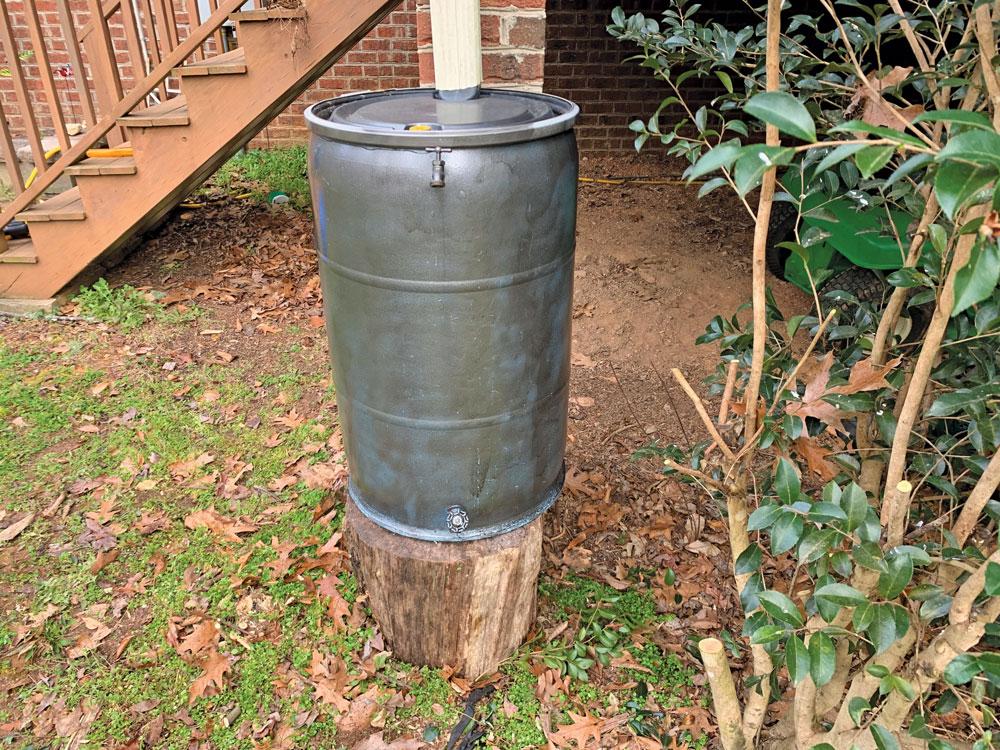 Spray painted rainwater catch