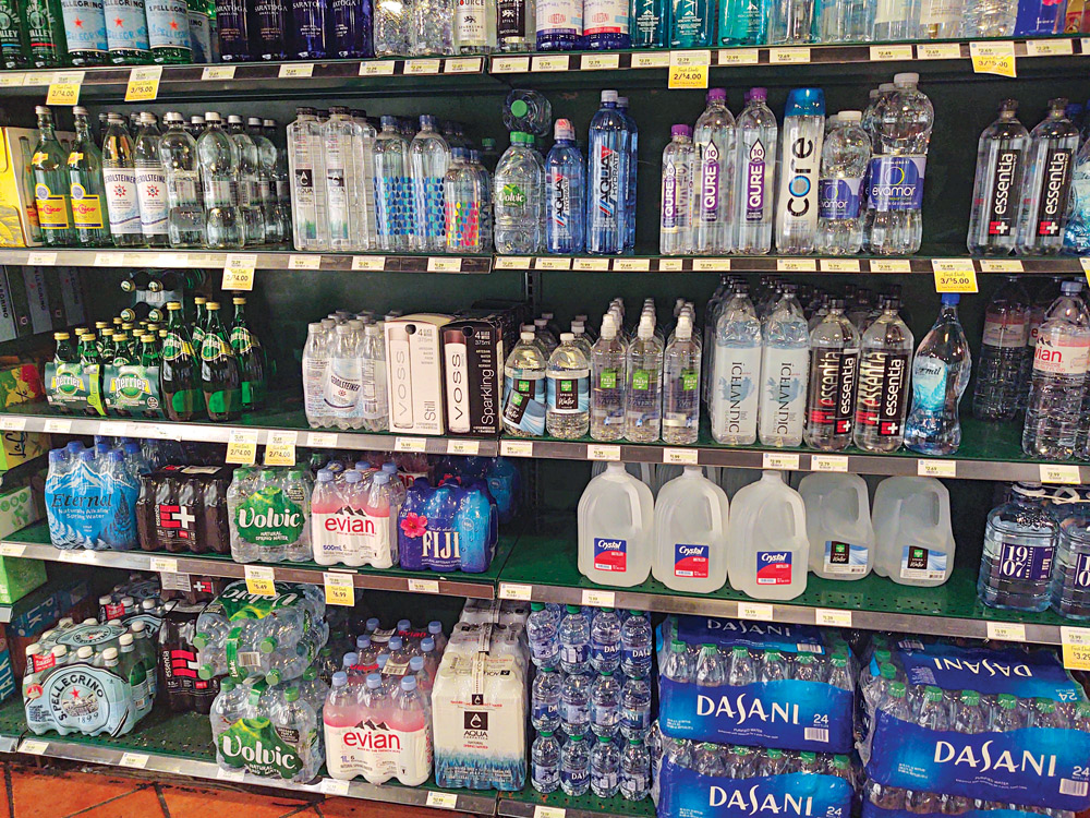 Although water was still safe to drink from the tap, shoppers grabbed all types of bottled water to store in case the availability of potable water changed.