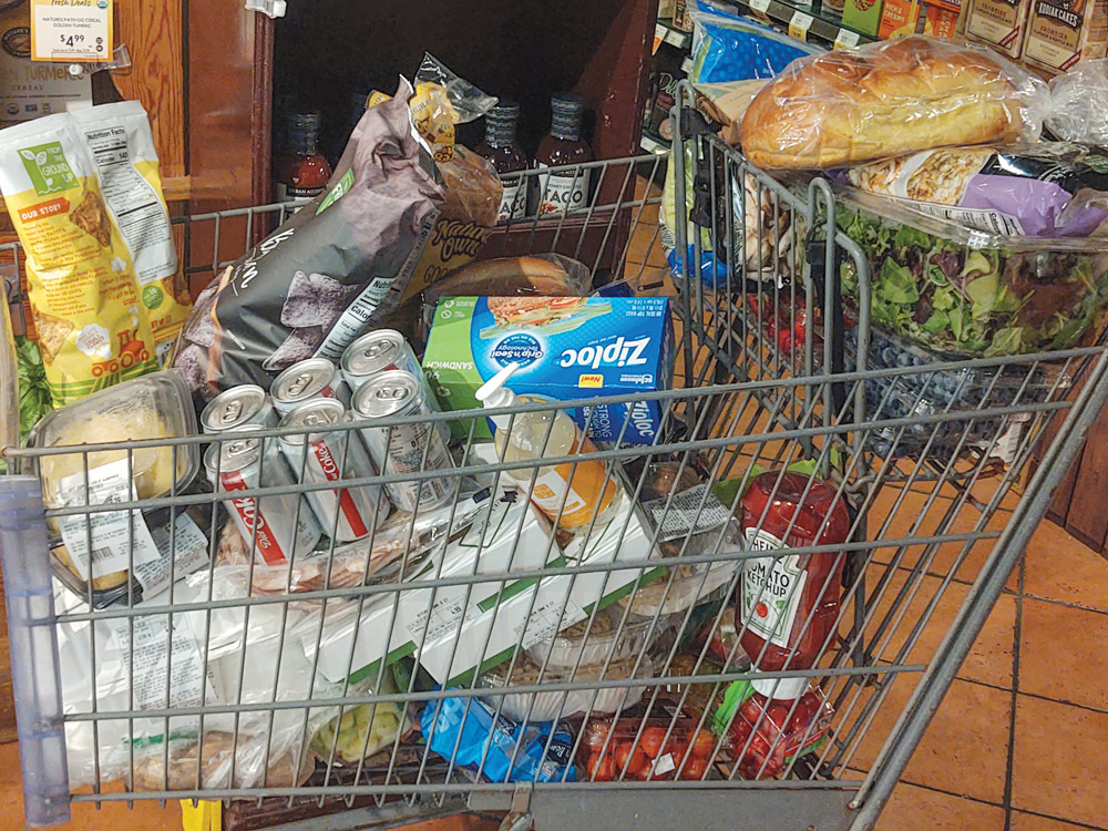 Shoppers bought cartsful of groceries during the two to three weeks prior to the country being locked down.