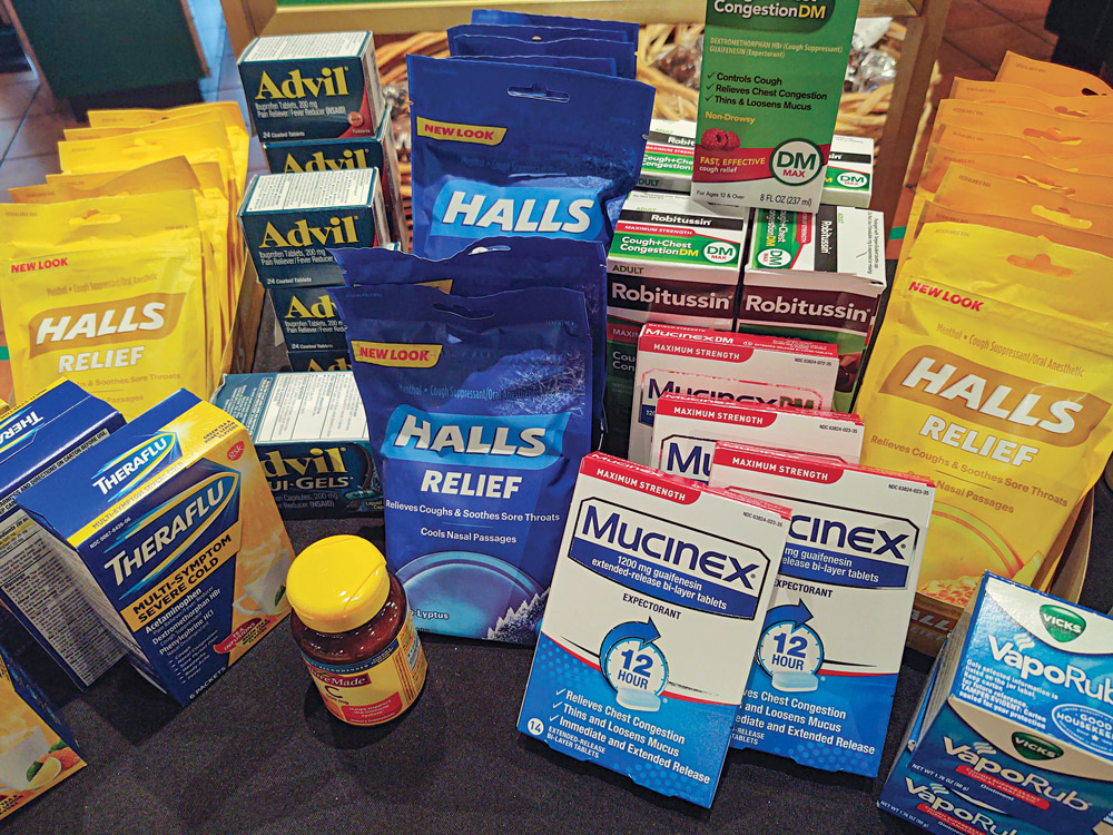 All types of over-the-counter medicines were purchased and stocked for assisting with the symptoms of the COVID-19 coronavirus.