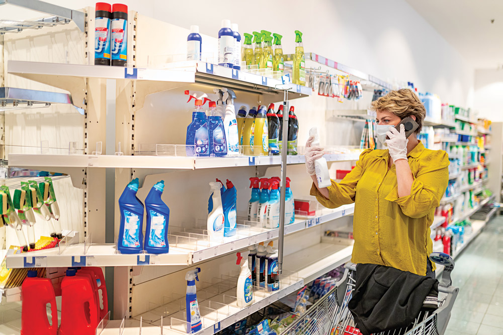Cleaning supplies were cleaned out as fast as key food items when the COVID-19 pandemic hit the United States.