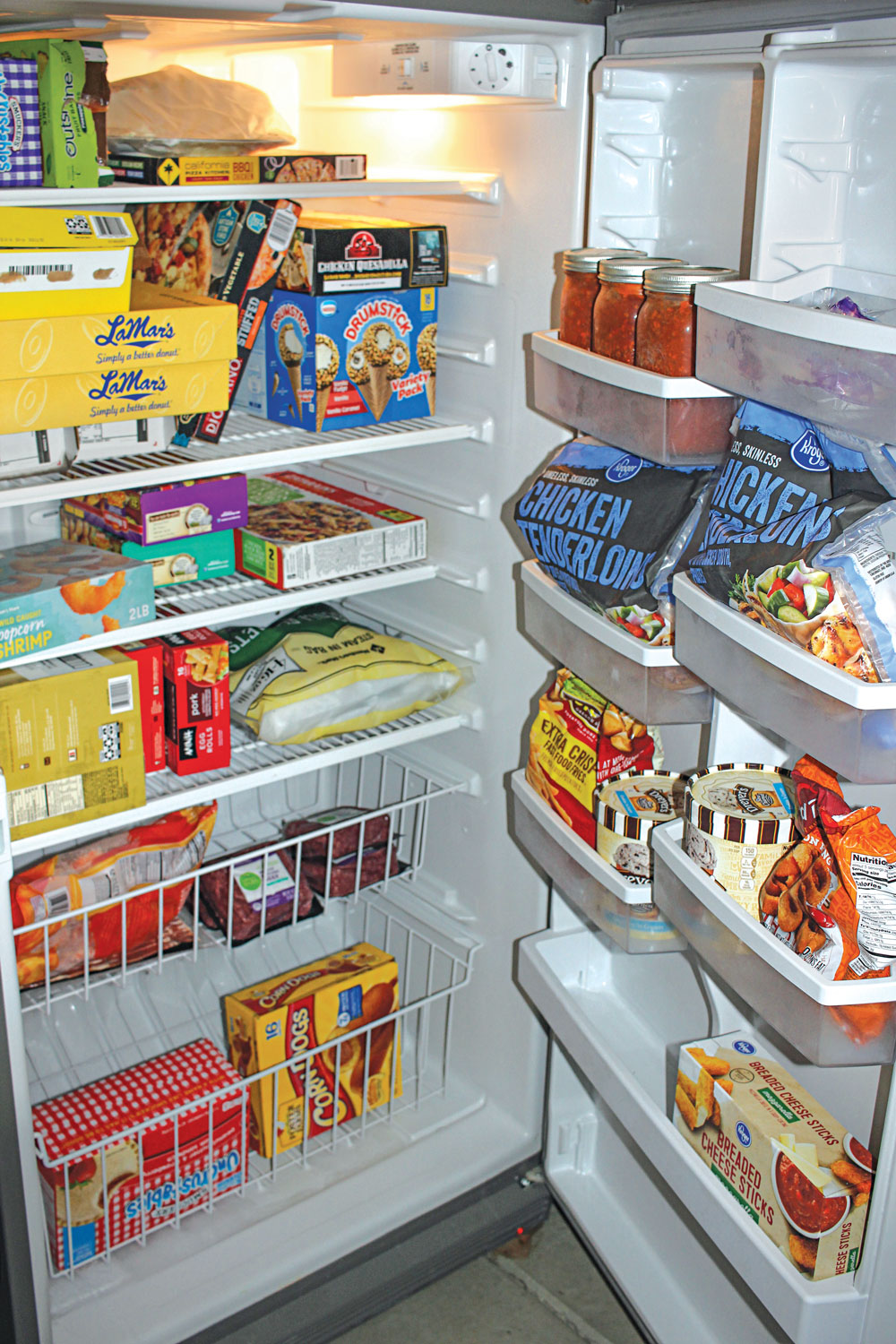 With the food supply possibly struggling, the author's family loaded up on frozen items so they'd have a buffer.