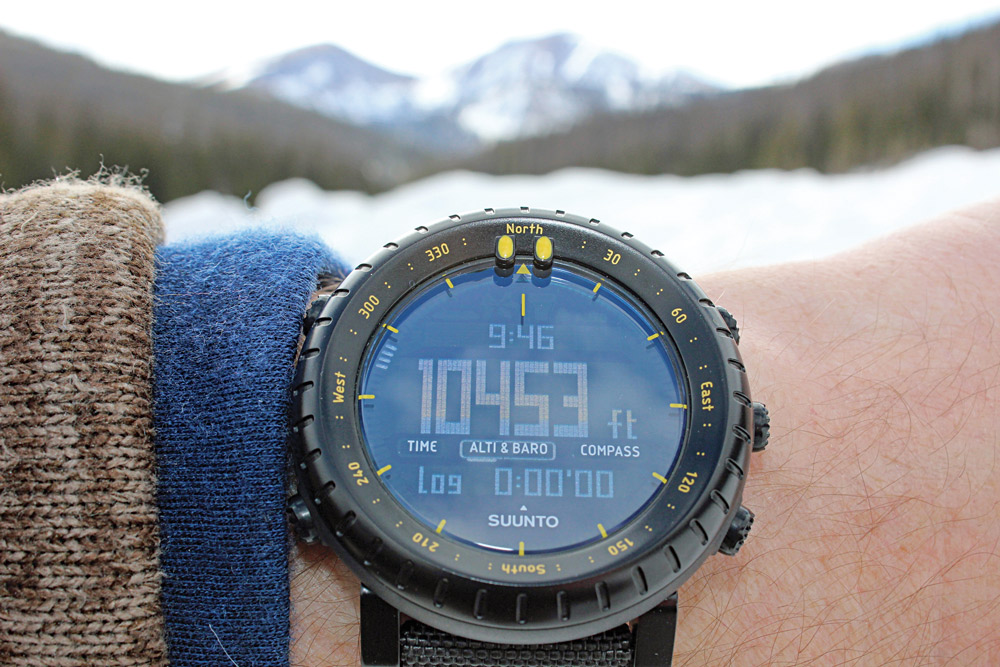 The author checked the elevation reading on the Suunto Core at the top of Colorado's Cameron Pass and found that it agreed with the known measurement.