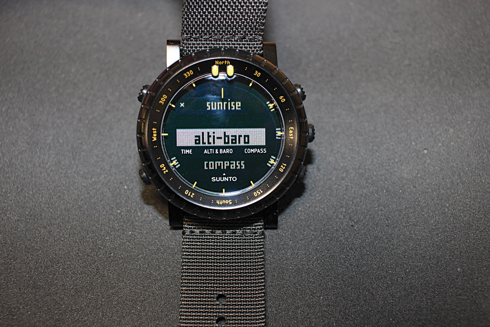 The menu screen on the Suunto Core is easy to access and read and intuitive to navigate.