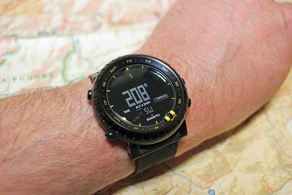 You can shoot an azimuth and monitor your progress by using the Suunto Core's rotating watch bezel.