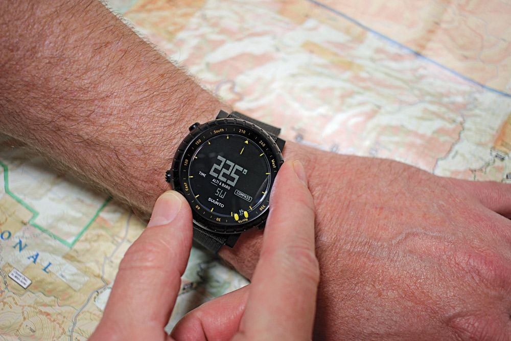 Unlike the bezel on a dive watch, the bezel on the Suunto Core rotates in either direction for tracking azimuths.