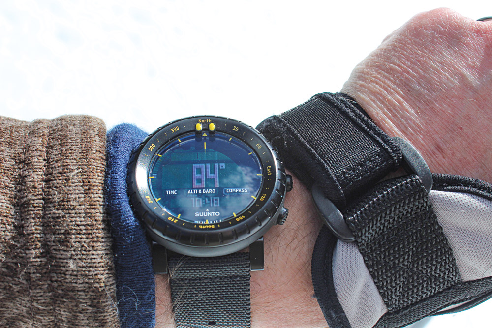 The Suunto Core has adjustable contrast and is easily viewed, even in extremely bright conditions.