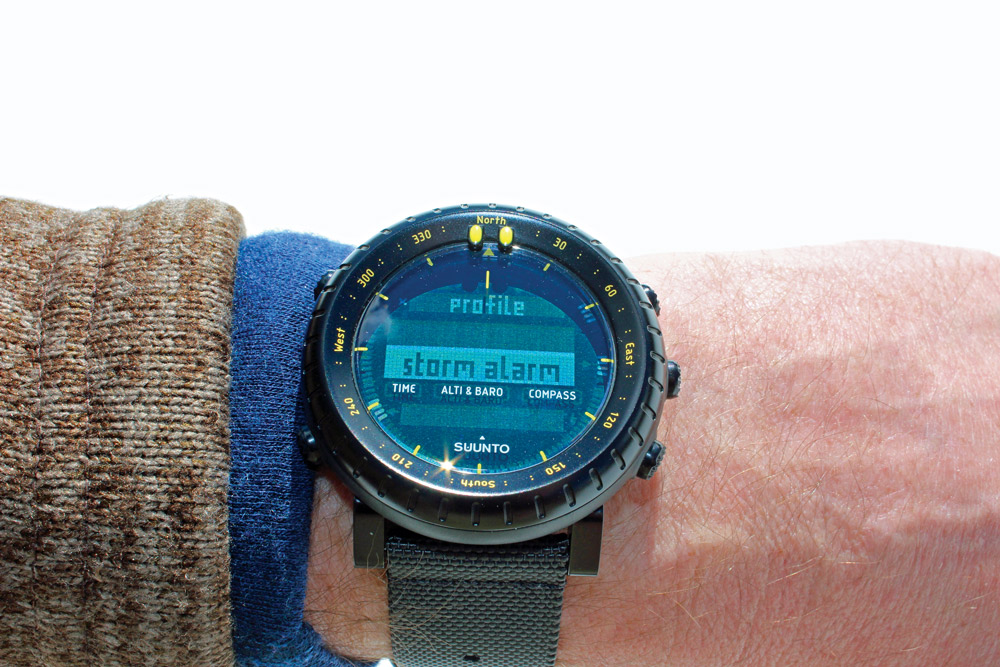 The storm warning alarm on the Suunto Core is one of the device's best features. It detects where there are drastic barometric pressure drops