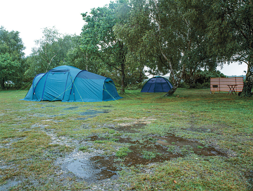 Incorrect placement of your shelter during bad rainstorms can cause your campsite to flood and ruin your supplies.